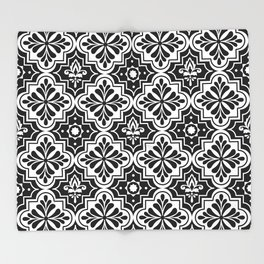 Black and White Geometric Ornamental Moroccan Pattern Throw Blanket