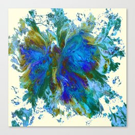 Butterflies are free in teal, blue, green and cream Canvas Print