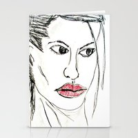 angelina jolie Stationery Cards featuring ANGELINA JOLIE by JANUARY FROST