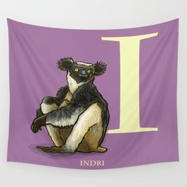 I is for Indri: Under Appreciated Animals™ ABC nursery decor purple lemur unusual animals Wall Tapestry