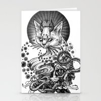 satan Stationery Cards featuring Satan cat by Yulia Hochulia