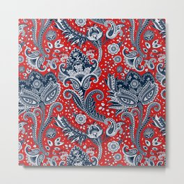 Red White & Blue Floral Paisley Metal Print
