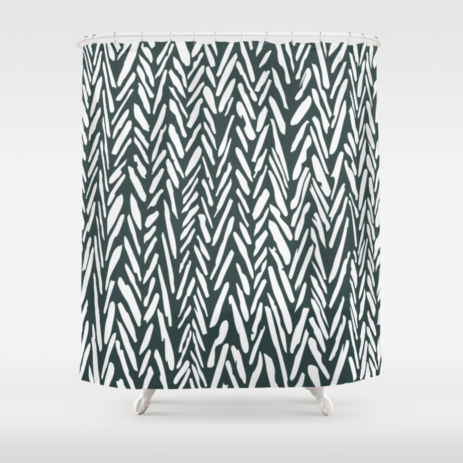Dark Green Herringbone Pattern Shower Curtain