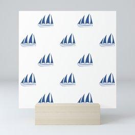Blue Sailboat Pattern Mini Art Print