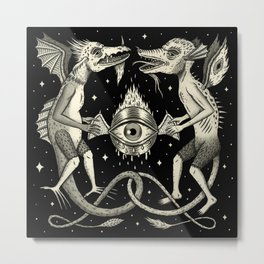 Heraldic Beasts with All-Seeing Orb Metal Print
