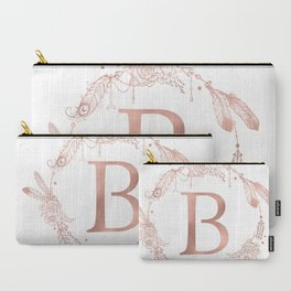 Letter B Rose Gold Pink Initial Monogram Carry-All Pouch