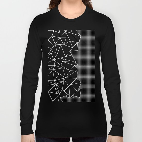 Abstract Grid Outline White on Black on Side Long Sleeve T-shirt