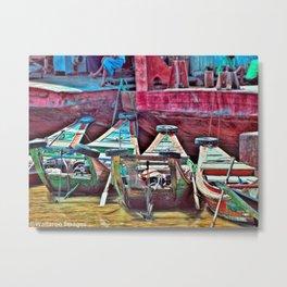 Burmese Taxi Boats Metal Print