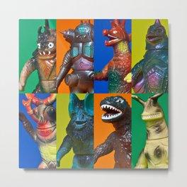 Action Figure Grid: Godzilla's Gang Metal Print