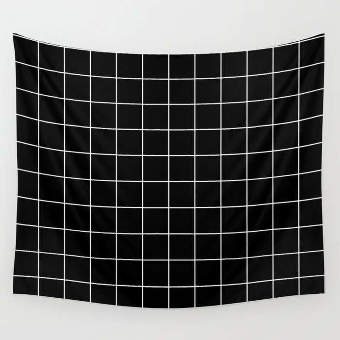 Grid Pattern Line Stripe Black and White Minimalist Geometric Stripes Lines Wall Tapestry