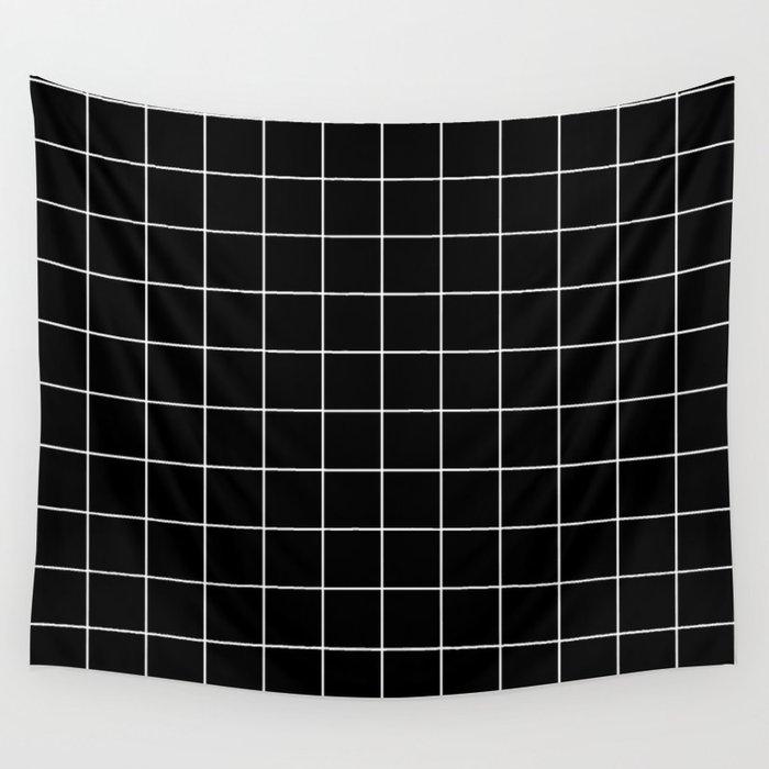 Grid Simple Line Black Minimalist Wall Tapestry