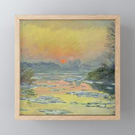 """Claude Monet """"Sunset on the Seine in Winter"""" Framed Mini Art Print"""