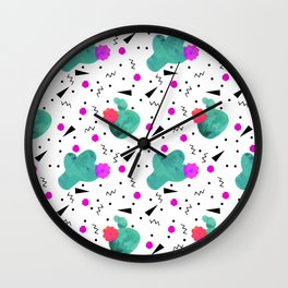 Hello Cactus White Background Wall Clock