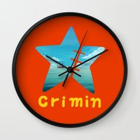 one piece Wall Clocks featuring One Piece Crimin by POP42