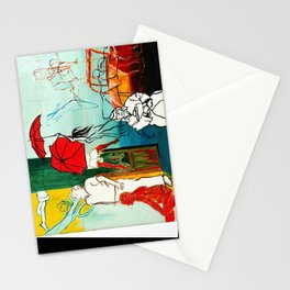 Composition Painting - Umbrella girl with woman Stationery Cards