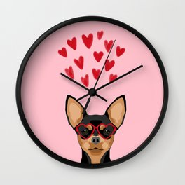Chihuahua black and tan valentines day love hearts dog breed gifts cute chiwawa glasses Wall Clock