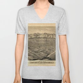 Vintage Bird's Eye Map Illustration - Santa Barbara, California (1877) Unisex V-Neck