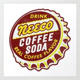 Vintage Neeco Coffee Soda Pop Bottle Cap Art Print