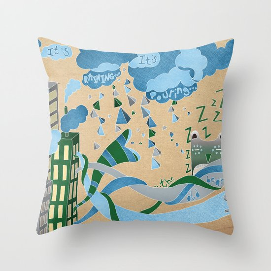 It's Raining its pouring Throw Pillow