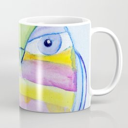 Striped Owl Cute Watercolor Painting by Garden Of Delights Coffee Mug