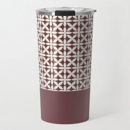 Pantone Cannoli Cream Square Petal Pattern on Pantone Red Pear Travel Mug