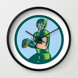 American Football QB Throwing Circle Woodcut Wall Clock