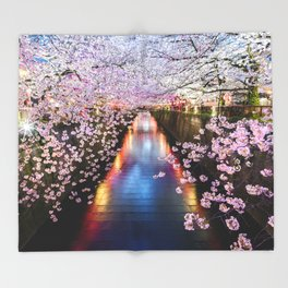 Cherry Blossom in pink   Japan Nakameguro River Throw Blanket