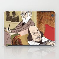 freud iPad Cases featuring Freud analysing Shakespeare by drawgood