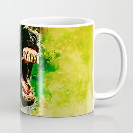 horse hilarious big mouth watercolor splatters yellow green Coffee Mug