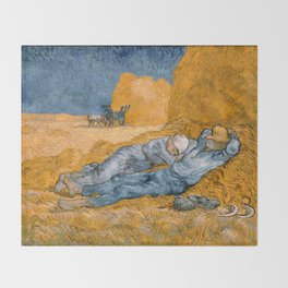 "Vincent van Gogh - Noon Rest From Work (A ""Copy"" of a Jean-François Millet Work) Throw Blanket"