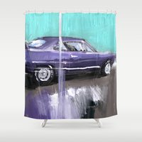 muscle Shower Curtains featuring The purple muscle car by mystudio69