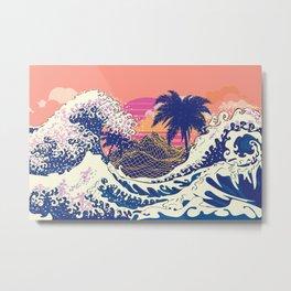 The great wave off kanagawa and palm trees Metal Print