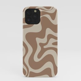 Liquid Swirl Contemporary Abstract Pattern in Chocolate Milk Brown and Beige iPhone Case