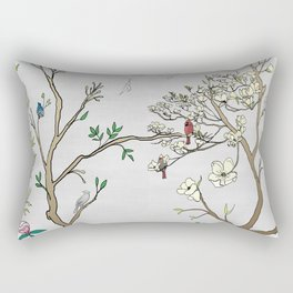 Chinoiserie Panels 1-2 Silver Gray Raw Silk - Casart Scenoiserie Collection Rectangular Pillow