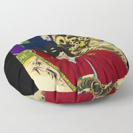 Tiger with warrior in Japan Floor Pillow
