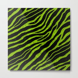 Ripped SpaceTime Stripes - Lime Metal Print