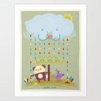 color raindrops keep falling on my head Art Print
