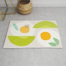 Minimalist Avocado and Eggs Rug