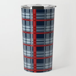 Red Line White And Red Lumberjack Flannel Pattern Travel Mug