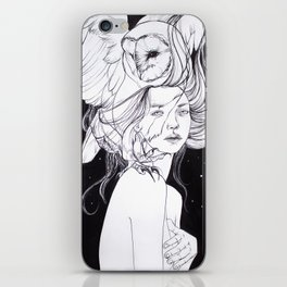 Woman with Owl Familiar iPhone Skin