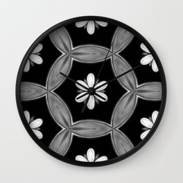 black and white hippie flower pattern Wall Clock