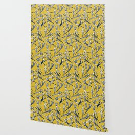 dog party indigo yellow Wallpaper