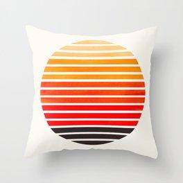 Orange Mid Century Modern Minimalist Scandinavian Colorful Stripes Round Circle Frame Throw Pillow