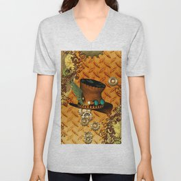 Steampunk, hat with clocks and gears Unisex V-Neck