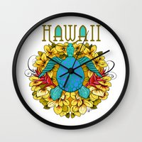 hawaii Wall Clocks featuring Hawaii by Renee Ciufo