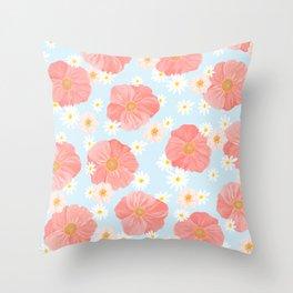 Poppies Garden Throw Pillow