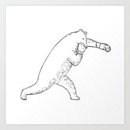 Kodiak Bear Left Straight Punch Drawing Art Print