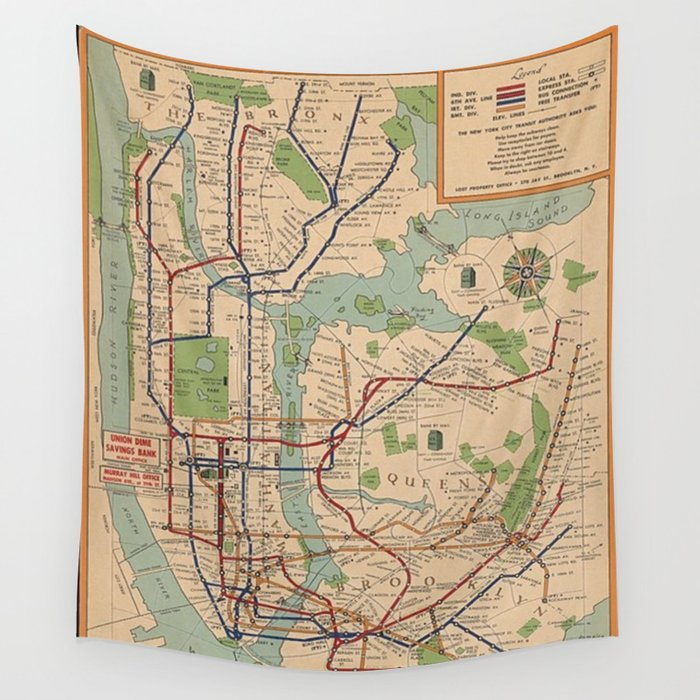 New York City Metro Subway System Map 1954 Wall Tapestry by vintageartstore