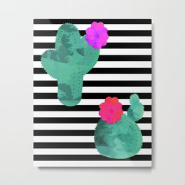 Cactus Stripes White Background Metal Print