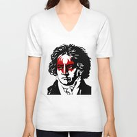 beethoven V-neck T-shirts featuring Beethoven Rock by futbolko